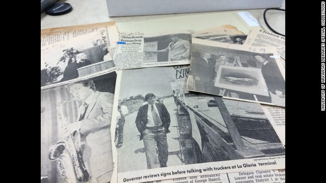Blair's was a methodical clipper of newspaper stories such as these from Clinton's time as Arkansas governor.