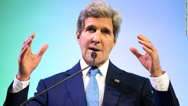 U.S. Secretary of State John Kerry gestures during a speech on climate change in Jakarta, Indonesia.