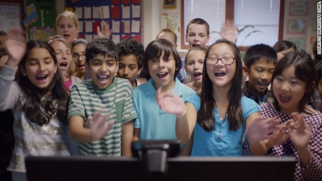 Scott Bedley's fifth-graders from Plaza Vista School in Irvine, California, appear in Microsoft's Super Bowl ad while participating in Mystery Skype. The class is hoping to meet with students from all 50 states through the geography learning game.