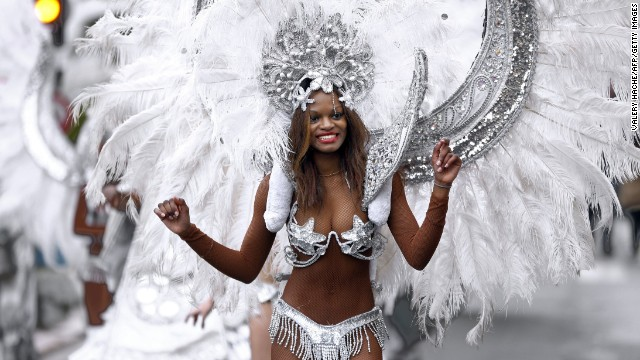 A dancer performs during the Nice Carnival parade on February 15.