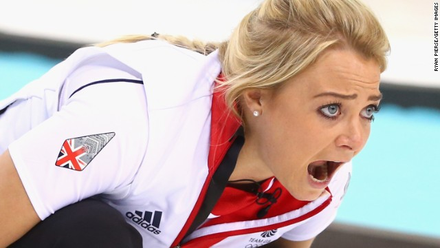 Anna Sloan of Great Britain competes against Russia during a curling match on February 17.
