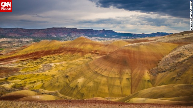 "The soft hues of the Painted Hills in Oregon are as picturesque as a watercolor painting. Gary Piazza photographed the mountains from a designated trail. ""The soil is very fragile and will degrade and erode if humans were to gain access,"" he said."