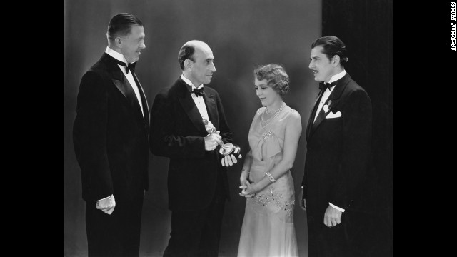"In 1930, there were actually two Oscar ceremonies. Actress Mary Pickford, seen here, receives her best actress Oscar in April 1930 for her performance in the 1929 film ""Coquette."""