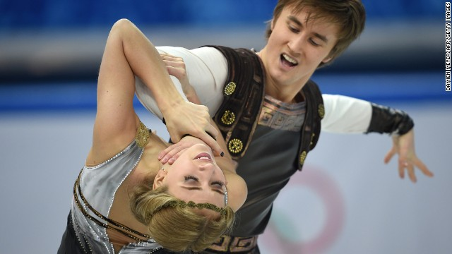 Russian ice dancers Ruslan Zhiganshin and Victoria Sinitsina compete on February 17.