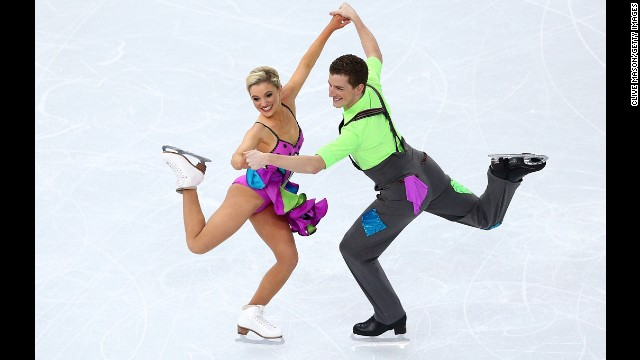 Australians Danielle O'Brien and Gregory Merriman compete in the ice dancing event on February 17.