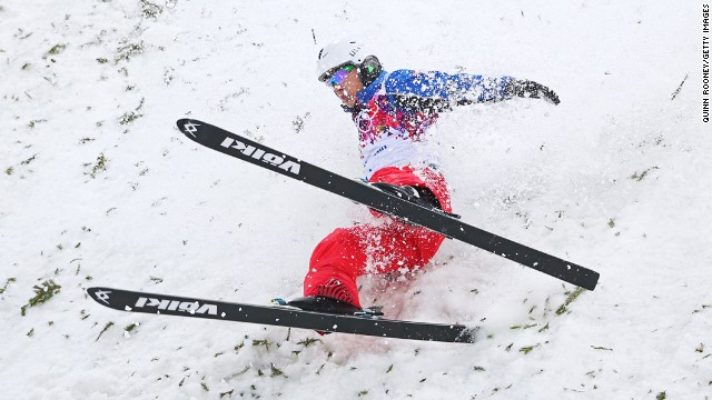 Zhongqing Liu of China lands in the men's aerials competition February 17.