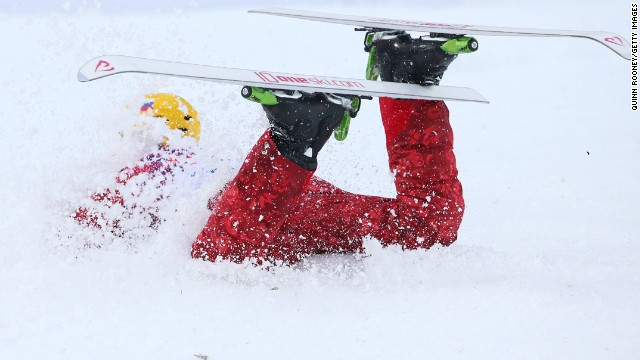 Ilya Burov of Russia crashes as he competes in men's aerials.