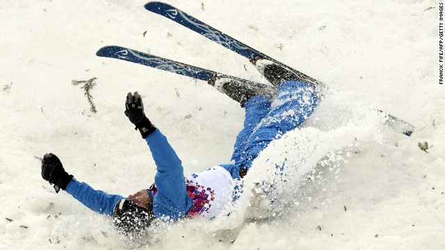 Denis Osipau of Belarus crashes during men's aerials.