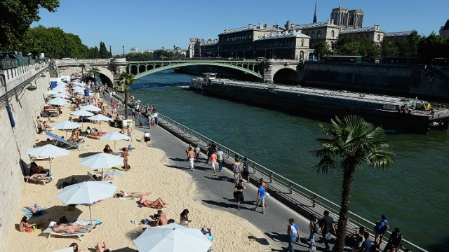 Who needs the French Riviera? Around 5,000 tons of sand is spread along the river Seine each summer, with live jazz, giant sprinklers, and dozens of palm trees transforming the French capital into a tropical oasis -- or as near enough as you're going to get this far from the Mediterranean.