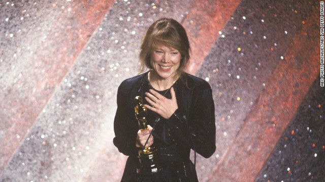 "Sissy Spacek accepts the best actress Oscar for her role in the film ""Coal Miner's Daughter."""