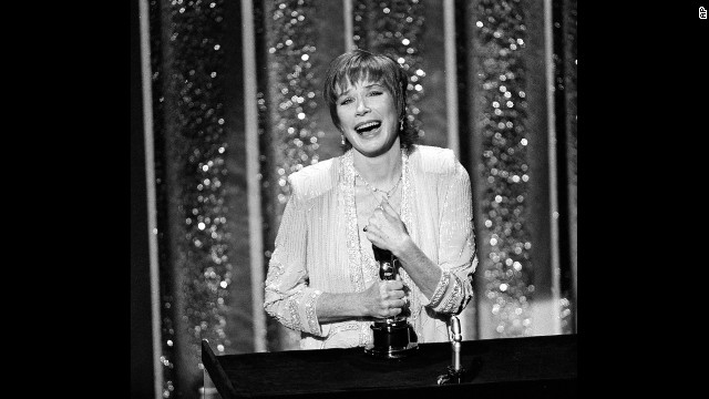 "Shirley MacLaine accepts her Oscar in 1984. She won for her performance in ""Terms of Endearment."""