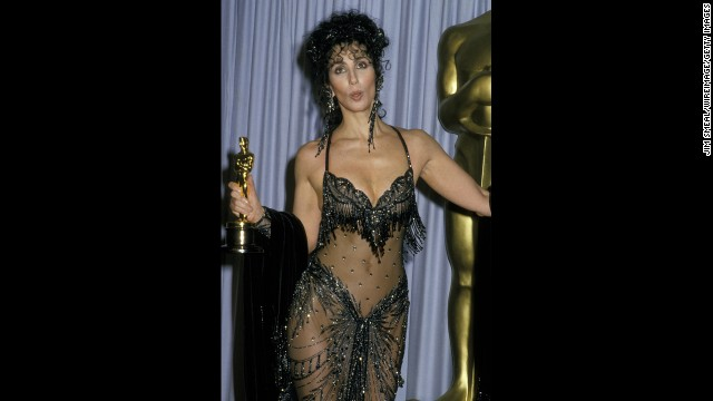 "Cher wears <i>that</i> dress in 1988, when she won the Academy Award for ""Moonstruck."""