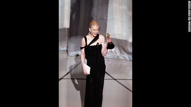 "Nicole Kidman accepts her award for her role in ""The Hours."""