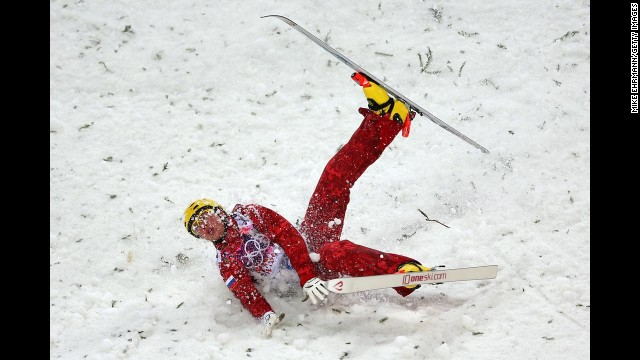 Pavel Krotov of Russia crashes out in men's aerials.