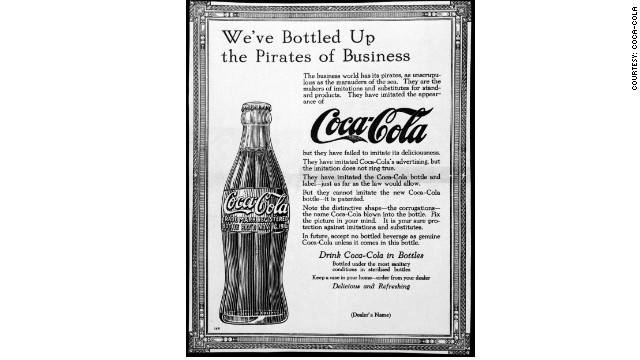 "Trying to copy Coke and crack the secret formula? Beverage makers have been trying to do that for over a century. Pictured here is a 1915 advertisement warning Coca-Cola drinkers about its ""pirate"" competitors."