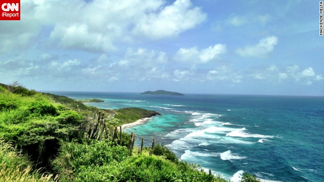 "Travel agent <a href='http://ireport.cnn.com/docs/DOC-1082521'>Mackenzie Melfa </a>took this shot of the view of Boiler Bay from St. Croix's Point Udall. ""The colors on the east side of St. Croix are amazing. The blues and greens are so vibrant!"""