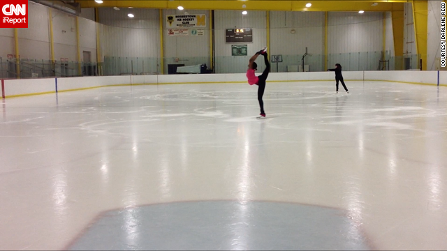 Reed, center, has been working on her skating skills, such as this Biellmann spin.