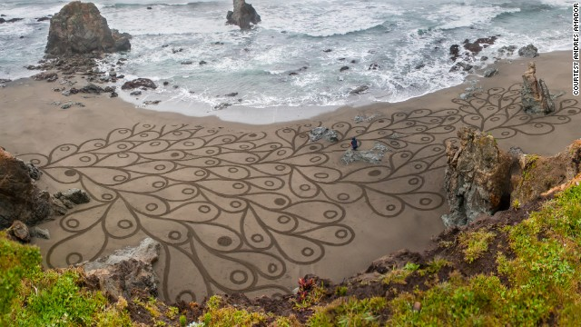 Most of Amador's work so far has been produced on beaches in northern California. But he's also ventured to Mexico and the Channel Islands to create his art.