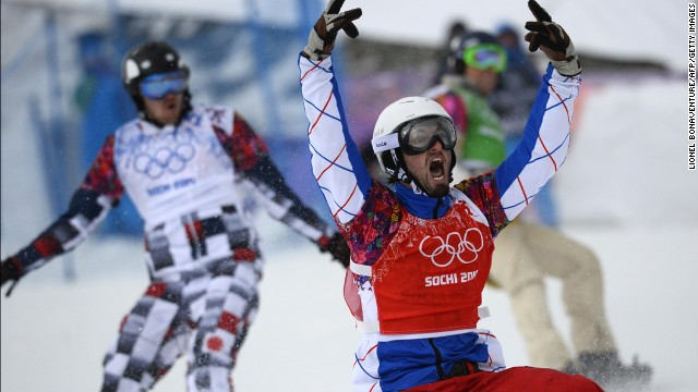 France's Pierre Vaultier celebrates winning the men's snowboard cross final on February 18.