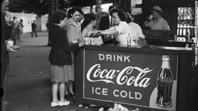 The drink company also has a long-standing partnership with the Olympic committee. Pictured here is a Coca-Cola stall at Wembley Stadium during the 1948 Olympic Games in London.