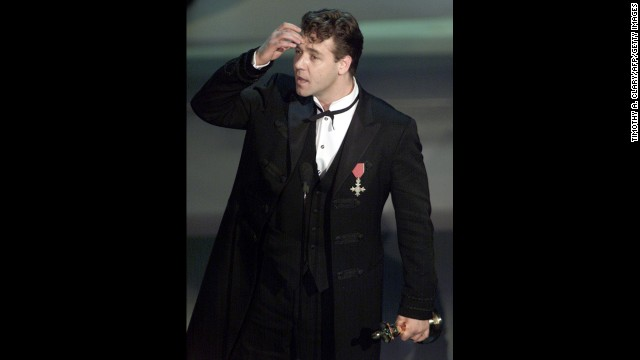 "The academy fawned over Russell Crowe's ""Gladiator,"" a sword and sandals epic that picked up honors for best picture, best costume design, best sound, best visual effects and best actor -- the first win for the Australian Crowe."