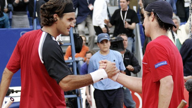 Those expectations were raised when an 18-year-old Gasquet saved three match points to beat Roger Federer, left, at the Monte Carlo Masters in 2005.