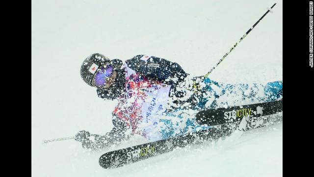Japan's Kentaro Tsuda crashes in the men's halfpipe on February 18.