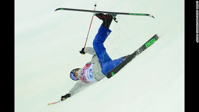 Russia's Pavel Nabokikh crashes in the men's halfpipe on February 18.