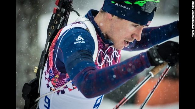 Norwegian biathlete Emil Hegle Svendsen competes in the men's 15-kilometer mass start event on February 18.