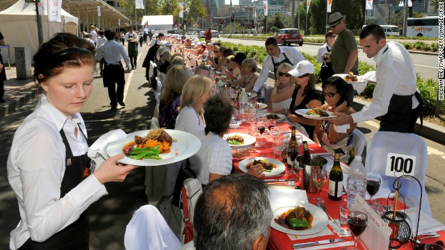 "Meals are served at an event called ""World's Longest Lunch"" as part of the 2010 Melbourne Food and Wine Festival. This year, world's longest lunches will take place March 14 in 22 spots across the Australian state of Victoria."