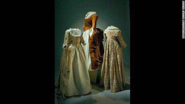 The clothing early Americans found appropriate to wear in public is vastly different from today's fashion. For example, if a colonial woman was buying food or harvesting her garden, she would wear formal clothing with many layers of undergarments. The ladies who wore these fine dresses probably had servants do their shopping for them.
