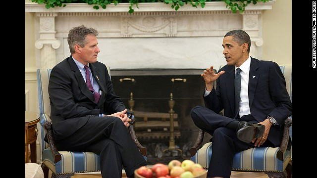President Barack Obama meets with Sen. Scott Brown in the Oval Office in June 2010.