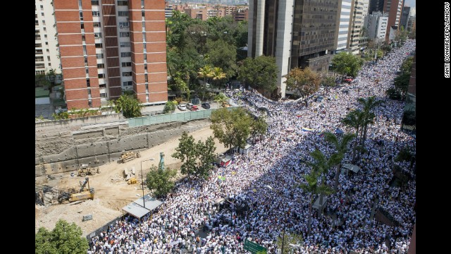 Thousands of demonstrators gather in support of Lopez in Caracas on February 18.