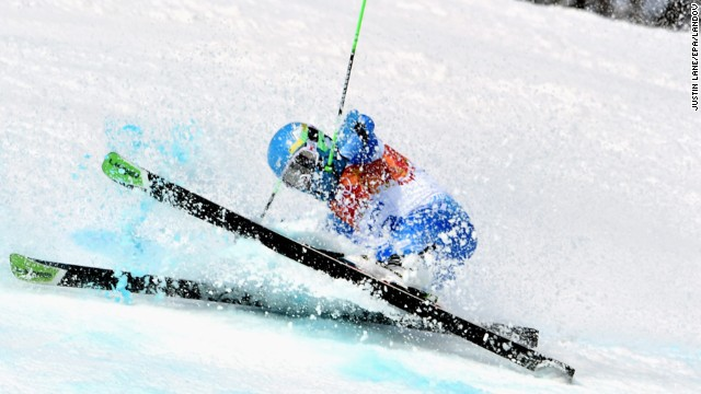 Sebastiano Gastaldi of Argentina crashes during his first giant slalom run.