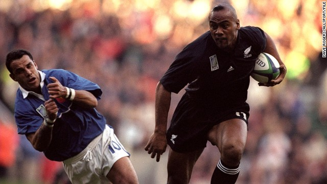 During the mid 1990s and early 2000s, Lomu terrorized opposition defenses, leaving players dazed and confused. Here, France's fly-half Christophe Lamaison is brushed aside during a compelling World Cup semifinal match at Twickenham, England in 1999.
