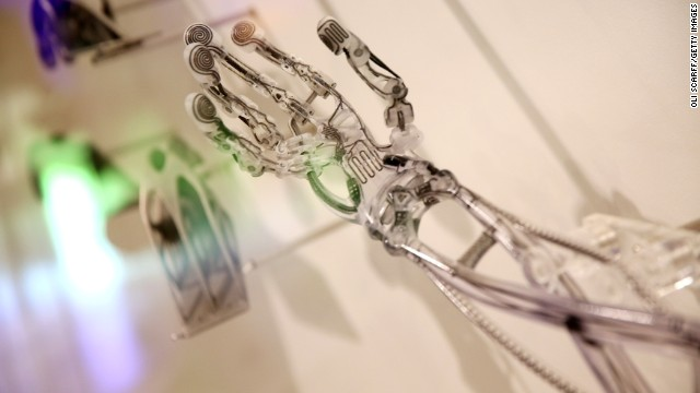 A 3D printed prosthetic arm is displayed in the Science Museum on October 8, 2013 in London, England.