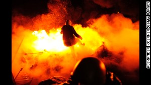 Protesters clash with police in Independence Square in Kiev, Ukraine, on Wednesday, February 19.