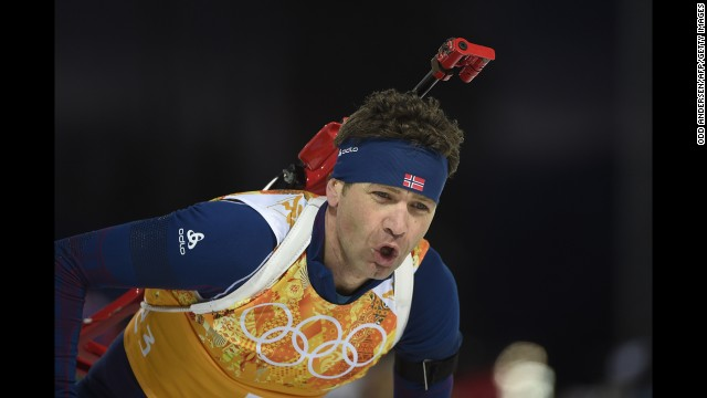 Norwegian biathlete Ole Einar Bjoerndalen competes in the mixed relay event on February 19.