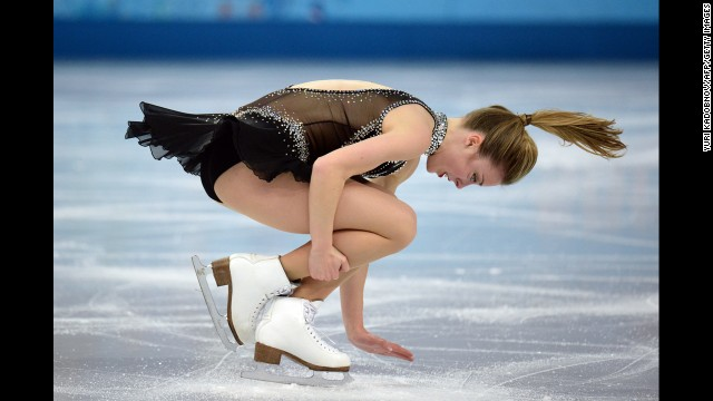 Ashley Wagner of the United States performs her short program during the figure skating competition.