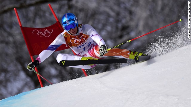 Liechtenstein skier Marco Pfiffner competes in the men's giant slalom on February 19.