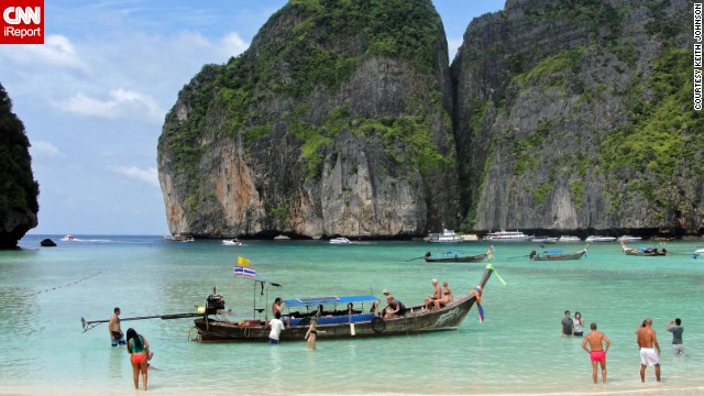 "<a href='http://ireport.cnn.com/docs/DOC-1083062'>Keith Johnson</a> says Maya Bay, on Ko Phi Phi Le island in Thailand, ""is by far the most beautiful place I have ever been in my travels."" The popular diving spot was also the prime filming location for the 2000 movie ""The Beach."""