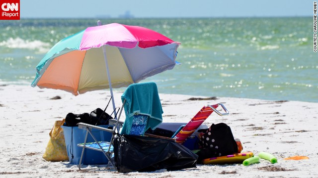 "And here we have all the trappings of a normal day at the beach. It still looks pretty great to us. Anclote Key sits off the Gulf Coast of Florida near Tarpon Springs and boasts ""clean white sand, aqua colored crystal clear water, lots of seabirds and shells to collect,"" as <a href='http://ireport.cnn.com/docs/DOC-1083169 '>Caroline Newby</a> reported."