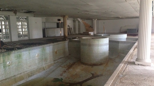 The grand swimming pool and jacuzzi in The Towers mansion have been left unused.