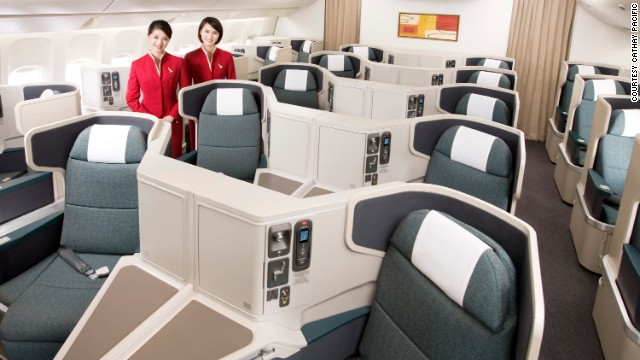 <strong>8. Cathay Pacific. </strong>This Hong Kong carrier still stands tall when it comes to providing passenger comfort, with one of the world's widest business-class seats at 32 inches and a side storage compartment that doubles as extra knee space for those who prefer sleeping on their side.