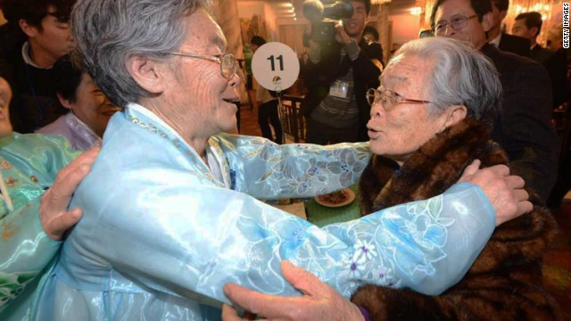 South Korean Kim Sung-Yoon (R), 96, meets with her North Korean sister. The meetings are likely to be the last time the separated families will have contact with one another.