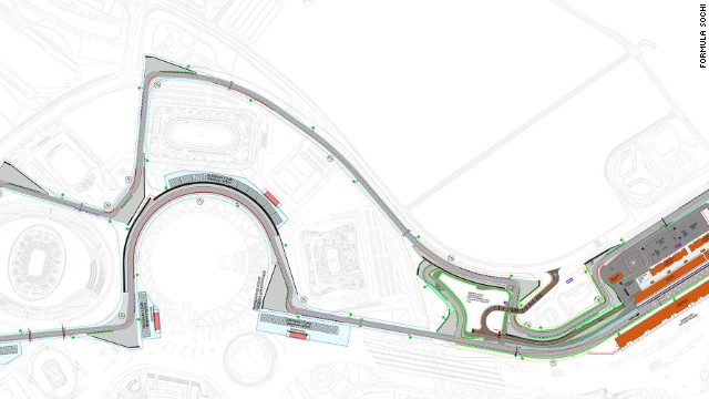 "The new circuit will run in a clockwise direction and consists of 12 right and six left turns, including the long, circular corner around the central Olympic plaza which designer Hermann Tilke calls ""the hardest corner in F1."" Cars will accelerate from 80 miles per hour to 190 mph around the curve."