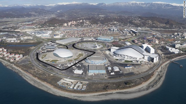 The Sochi GP will cut its way straight the middle of what is now the Olympic Park. Organizers claim its lo