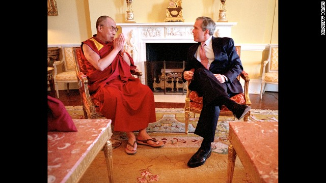 President George W. Bush meets with the Dalai Lama in the Oval Office in May 2001. (Photo by Mai/Mai/Time Life Pictures/Getty Images)
