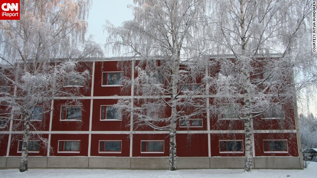 A barn red building stands out in snow-covered Oulu. See more photos on CNN iReport.