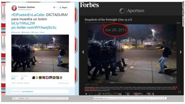 Political analyst Esteban Gerbasi tweeted this photo, calling it an example of dictatorship. The Getty photo shows <a href='http://www.cnn.com/2013/06/18/world/americas/brazil-protests/'>police firing rubber bullets</a> at a protester during clashes in Rio de Janeiro on June 20.